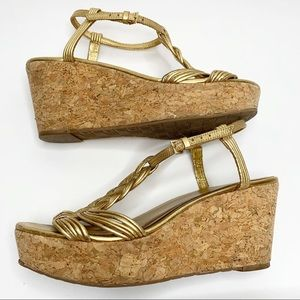 kate spade Shoes - Kate Spade Becca Gold Cork Wedge Heels Size 8